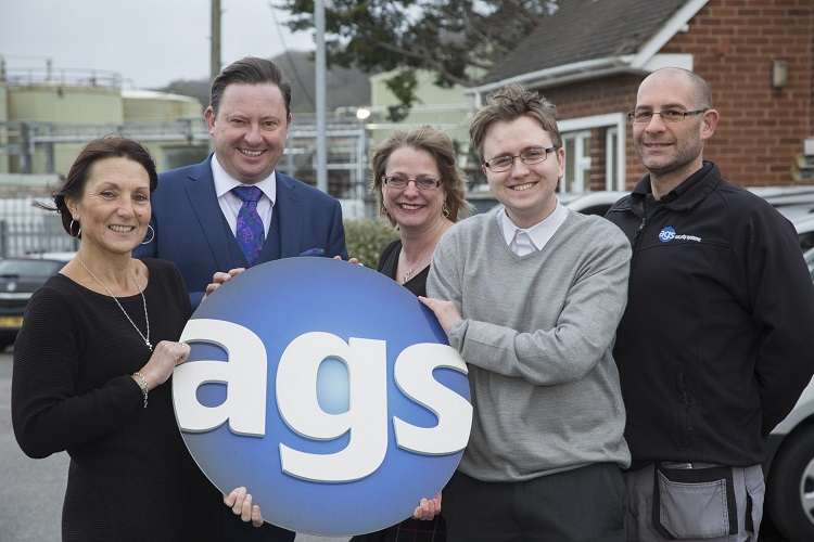 AGS SECURITY SYSTEMS, MOLD.... Pictured are Yvonne Griffiths, administrator, Managing Director Jonathan Turner, Carol Crumpton, manager ,Tim Reid apprentice administrator and Mark Buxton, lead engineer.