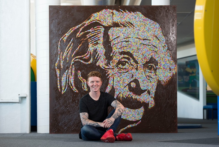 Nathan Wyburn with Smarties Einstein portrait - Copy